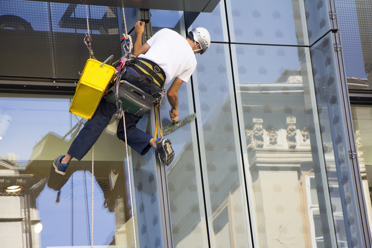 washing commercial building windows area